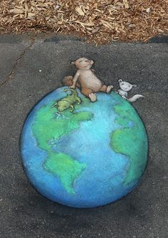 And there shall come a time when the Great Lakes are drunk by the northern lizard, and the top of the world shall unfurl a girl squirrel just because it will be so much fun to say. No one will know why the ferret showed up, including the ferret. 3d Street Art, Street Art Graffiti, Street Artists, Graffiti Artists, David Zinn, Abstract Sculpture, Sculpture Art, Metal Sculptures, Detroit Zoo