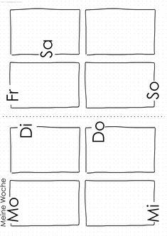 Bullet Journal Woche - free printable - Norma D. Journal Guide, Journal Layout, Journal Pages, Journals, Organization Bullet Journal, Scrapbook Organization, Printable Planner, Free Printables, Bullet Journal Week