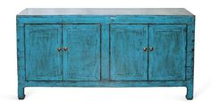 Four-door blue buffet with classic, elegant lines.  New hardware and interior shelves.  Hunan, China circa 1890s.