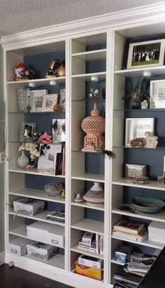 27 Cool IKEA Billy Bookcases Design Ideas : White And Blue IKEA Billy Bookcase Design