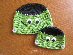 Frankenstein Hat:  FREE crochet pattern.  Yes, I actually check to see if there is a free pattern before I pin it-because I am SICK to death of people pinning stuff that is unusable.  BOOM.