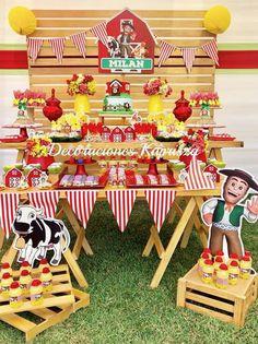 Cumple Gael Farm Animal Party, Farm Animal Birthday, Cowboy Birthday Party, Barnyard Party, Farm Birthday, Farm Party, 6th Birthday Parties, Barn Parties, Farm Theme