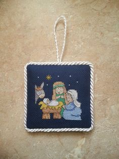 Holy Family at The Nativity Finished Completed Cross Stitch Christmas Ornament | eBay