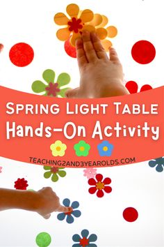 Toddlers and preschoolers will love playing with this spring light table activity. Work on the sense of touch while attaching and removing foam flowers to sticky paper! #toddlers #preschool #lighttable #sensory #touch #flowers #spring #teaching2and3yearolds Sorting Activities, Preschool Learning Activities, Hands On Activities, Preschool Activities, Preschool Garden, Toddler Preschool, Number Games For Toddlers, Spring Books, Sticky Paper