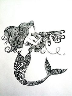 OHMYGOD. This has my love for the little mermaid and fine point sharpie drawings all wrapped into one. I am so doing this :D