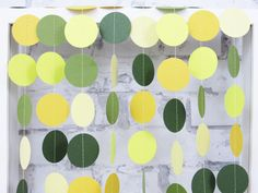 Citrus Wedding Garland - Yellow and Green Summer Wedding - Moss Green Paper Garland - Spring Wedding Decor