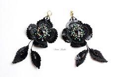 Серьги вне коллекций! #irenagasha #irenagashaembroideries #earrings #handembroidered #black #exclusive #oneofakind