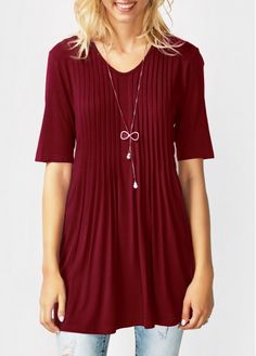 Half Sleeve V Neck Pleated Blouse on sale only US$29.69 now, buy cheap Half Sleeve V Neck Pleated Blouse at liligal.com