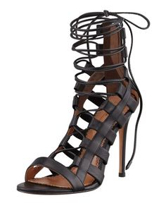 Amazon Lace-Up Ankle-Wrap Sandal by Aquazzura at Bergdorf Goodman.