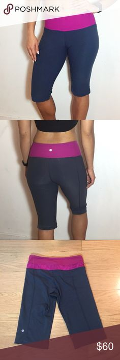 "Lululemon Biker Groove Short Lululemon Biker Groove Short -Size 4. -12"" inseam, hits above knee. -Dark gray/Pink, Reversible. -Excellent condition, no pilling, rips or stains.  NO Trades. Please make all offers through offer button. lululemon athletica Pants"