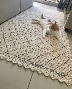 ingau se acha dono do tapete 😅😍 . Crochet Doily Rug, Crochet Carpet, Crochet Rug Patterns, Crochet Cushions, Crochet Home, Filet Crochet, Crochet Designs, Crochet Shawl, Tapete Doily