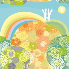 Rabbits in love fabric by dariara on Spoonflower - custom fabric