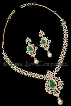 Diamond Necklace Jewellery Designs: Classic Necklace by Musaddilal - Latest Collection of best Indian Jewellery Designs. Diamond Necklace Set, Diamond Pendant, Diamond Jewelry, Gold Jewelry, Fine Jewelry, Jewelry Necklaces, Emerald Diamond, Gold Necklace, Ideas Joyería