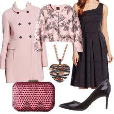 Cappotto cipria in lana e poliammide, maglioncino rosa con bottoni corto e con fantasia, vestito monospalla nero con pieghe, décolletè con tacco a spillo 8 cm, clutch rosa con strass e collana lunga color oro rosa con cuore.