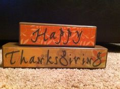Happy Thanksgiving Wooden Blocks by jewelrybox36 on Etsy, $10.00