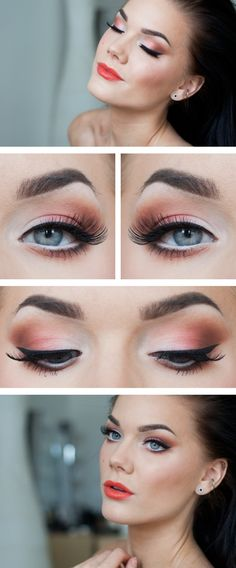 Glowing fresh graduation summer makeup look. White orange and tan eyeshadow, bright orange red lipstick, really brightens the face, and this...