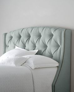 Bernhardt Rami Wing Tufted Headboard - Horchow - for some reason I've always wanted a fabric headboard Tufted Headboards, Upholstered Furniture, Bedroom Furniture, Fabric Headboards, Nailhead Headboard, Handmade Headboards, Tufted Bed, King Headboard, Furniture Design