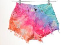 Rainbow dip dye shorts.