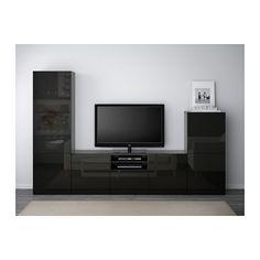 BESTÅ Tv-opbergcombi/vitrinedeuren - zwartbruin/Selsviken hoogglans/zwart rookkleurig glas, laderail, zachtsluitend - IKEA