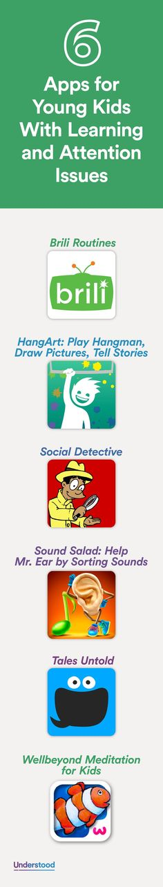 Apps are a fun way to help your child learn or manage challenges related to specific learning and attention issues. Here are six apps for young kids. Search Tech Finder for more expert-approved apps and assistive technologies! http://u.org/TechFinder