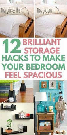 Got a small bedroom but need extra space? Then you need these easy DIY BEDROOM ORGANIZATION IDEAS to declutter and max storage on a budget. Space saving tips for a tiny room or apartment or college dorm. Great for teens, kids, couples, women, families. Couple Bedroom, Small Room Bedroom, Closet Bedroom, Trendy Bedroom, Home Decor Bedroom, Dorm Room, Bed Room, Bedroom Modern, Baby Bedroom