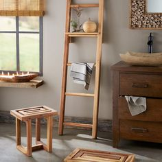 Scrap Teak Bathroom Collection - Stool, Mat & Ladder Shelf | VivaTerra