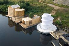 Kaluga Floating Sauna in Juhnovo, Czech Republic by Rintala Eggertsson Architects
