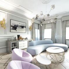 Chandelier: yay or nay?. \\\ Image via: #InteriorDesigner: @homestory_ahamajewska. Curved blue sofa.
