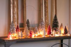 Scatter Christmas lights throughout an array of bottlebrush trees to create a glowing, magical entryway for the holidays.
