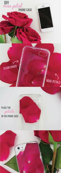 DIY Rose Petal Phone Case. A perfect project to do with leftover roses!