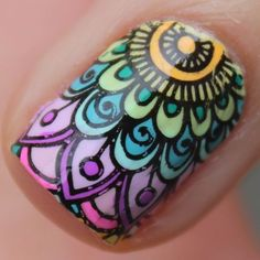 Hi guys, I'm severely addicted to mandala designs, it's like the only thing I wanna stamp and doodle right now, they're just so detailed, complicated and beautiful. For today's post I'm using one of. Great Nails, Love Nails, Nail Art Designs, Henna Nails, Gradient Nail Design, Mandala Nails, Finger, Nail Art Blog, Unicorn Nails