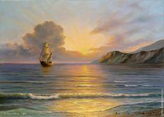 """Купить Картина маслом морской пейзаж """"Золото заката"""" - разноцветный, море, морской пейзаж, штиль"""