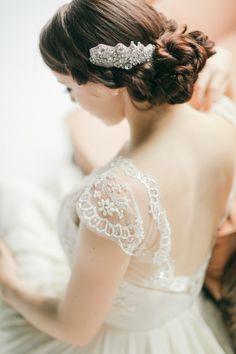 Bridal hair piece I Three Sunbeams #bridalheadpiece, #weddinghair, #bridalhairstyle
