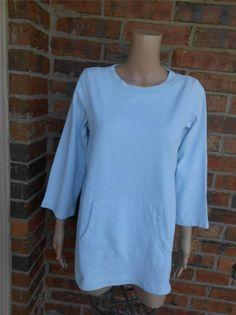 EILEEN FISHER Organic Cotton Top Size M Kangaroo Pouch Sweatshirt Pullover Blue #EileenFisher #SweatshirtCrew