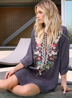 Johnny Was Collection Spring 2015 Lookbook featuring the Eyelet Floral Tunic in Graphite