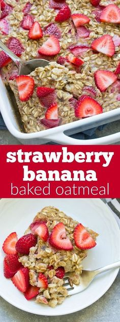 This Strawberry Banana Baked Oatmeal is a yummy make-ahead breakfast for busy mornings! This healthy breakfast is both gluten free and refined sugar free.
