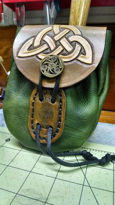 Green Belt Pouch by StarLeather on Etsy