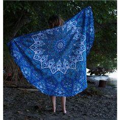 Blue Psychedelic Star Mandala Bohemian Roundie Throw – TheNanoDesigns