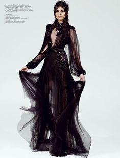 goth fashion, long black flowy dress