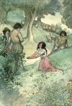 """28. Phebe: """"Sweet youth, I pray you, chide a year together. / I had rather hear you chide than this man woo.""""       Hugh Thomson Illustrations: Shakespeare's Comedy AS YOU LIKE IT"""