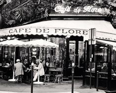 Paris Cafe Photography - Black and White Photography - Cafe de Flore Print - Parisian Home Decor - Sidewalk Dining in France - Wall Art