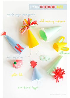6 Ways to Decorate Paper Party Hats | willowday