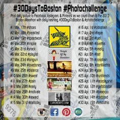 Are you running The Boston Marathon? Know someone that is? Have them check out the #30DaysToBoston #PhotoChallenge!