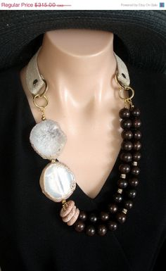 VALENTINE SALE ASHIRA - Rare - Rich Black Ebony Wood, Agate Slabs and Hand Made Cotton Duck/Satin Collar from France - One of a Kind