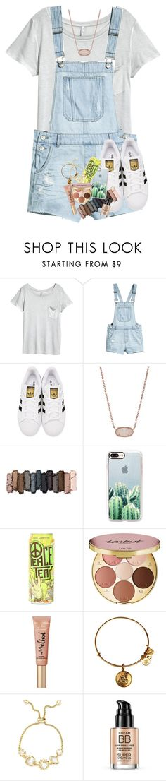 """""""wish i could pull off overalls!"""" by lindsaygreys ❤ liked on Polyvore featuring H&M, adidas Originals, Kendra Scott, Casetify, tarte and Alex and Ani"""