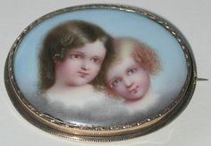 Victorian 14k gold and hand-painted porcelain brooch of two children • redrobinantiques.com