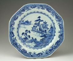 Antique 18thC Chinese Qing Qianlong Blue & White Export Porcelain Plate.