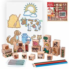 """Product # MD8592 - A barn, tractor, sheep, bunny, pig, and a barn's worth of animals and crops come in this colour-in stamp set for kids! Extra-large stamp set makes it easy to create an exciting storyline or a colour-in-scene! Includes 20 rubber-faced, wooden-handled outline stamps, a two-colour stamp pad with washable, kid-friendly ink, and five coloured pencils for colouring fun. Ages 4+. Largest stamp is 2""""L x 1-3/8""""W. Smallest stamp is 3/4""""Diam. $24.98"""