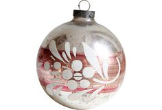 Large Silver Hand-Painted Ornament