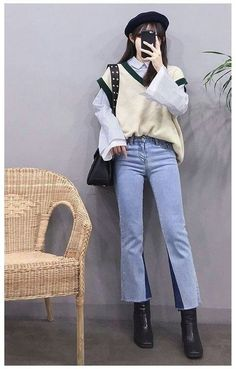 Sweater Vest Outfit, Vest Outfits, Kpop Fashion Outfits, Ulzzang Fashion, Mode Outfits, Cute Casual Outfits, Fall Outfits, Preppy Outfits, Korean Outfits Kpop